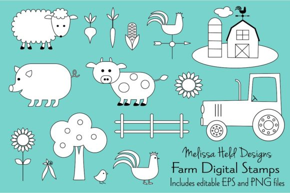 Farm Animals Digital Stamps Clipart Graphic Illustrations By Melissa Held Designs
