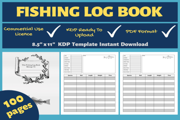 Print on Demand: Fishing Log Book | KDP Interior Graphic KDP Interiors By Mastery Templates