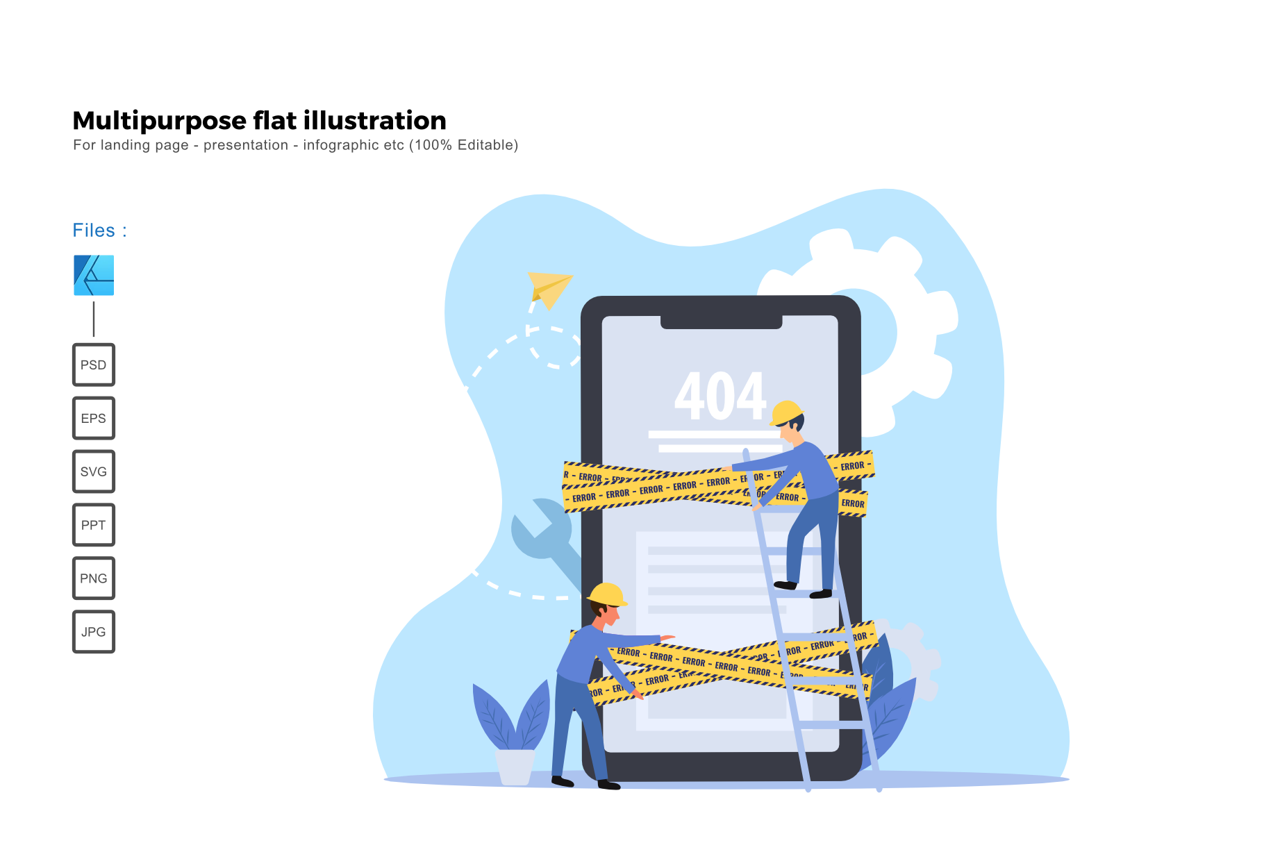 Download Free Flat Illustration 404 Page Grafik Von Rivatxfz Creative Fabrica for Cricut Explore, Silhouette and other cutting machines.