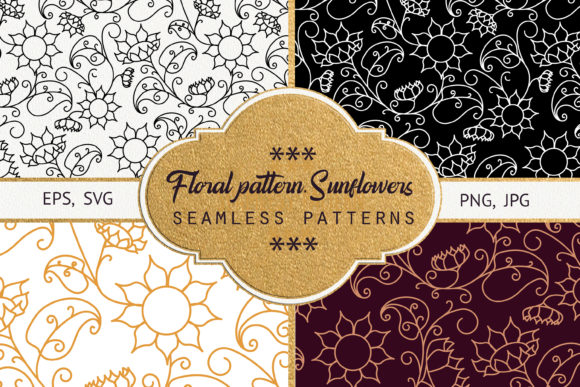 Print on Demand: Floral Pattern. Sunflowers Graphic Patterns By Natika_art