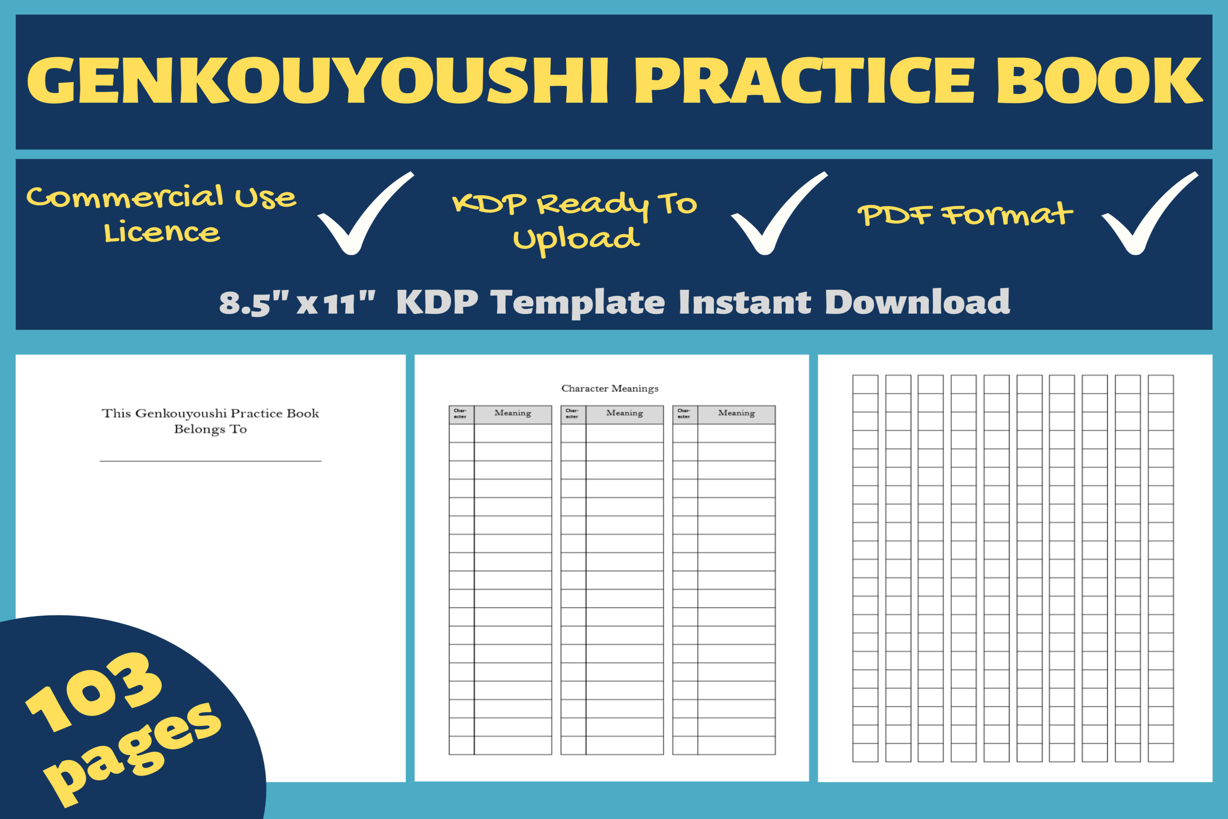 Download Free Genkouyoushi Practice Book Kdp Interior Graphic By Mastery for Cricut Explore, Silhouette and other cutting machines.