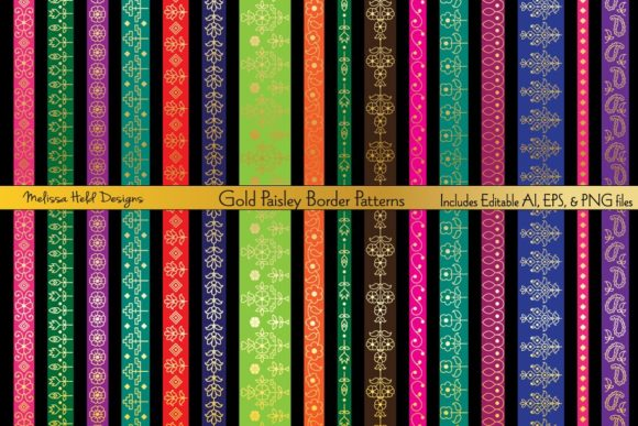 Gold Paisley Border Patterns Graphic Patterns By Melissa Held Designs