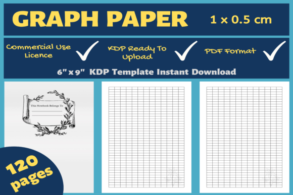 Print on Demand: Graph Paper 1 X 0.5cm | KDP Interior Graphic KDP Interiors By Mastery Templates