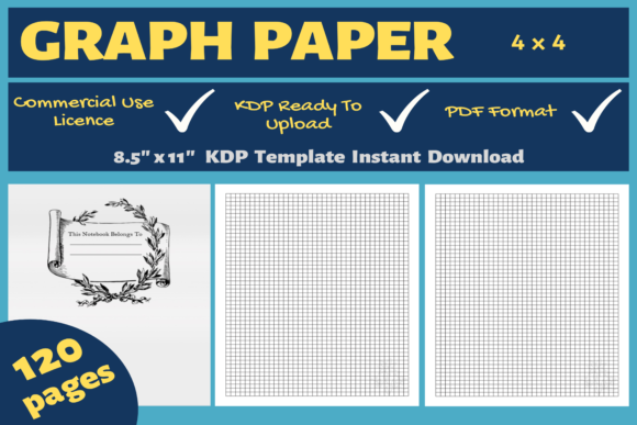 Print on Demand: Graph Paper 4 X 4 | KDP Interior Graphic KDP Interiors By Mastery Templates