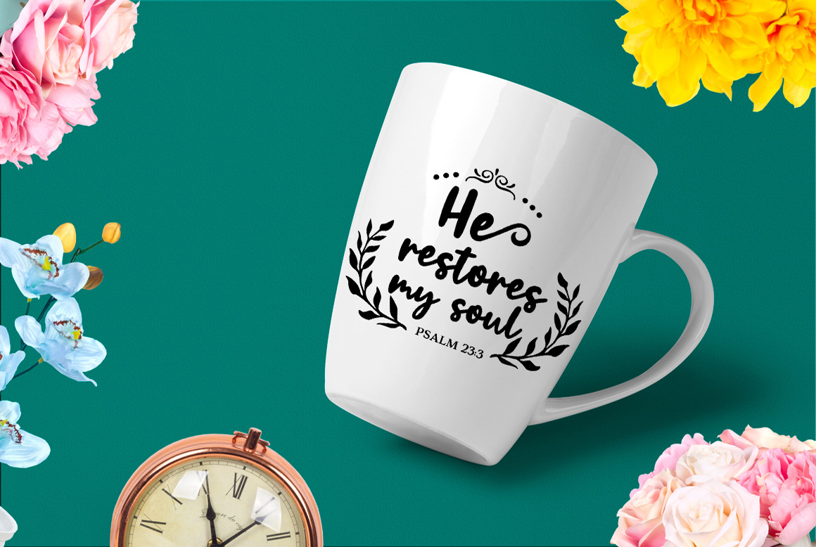 Download Free He Restores My Soul Religious Cut File Graphic By Nerd Mama Cut for Cricut Explore, Silhouette and other cutting machines.