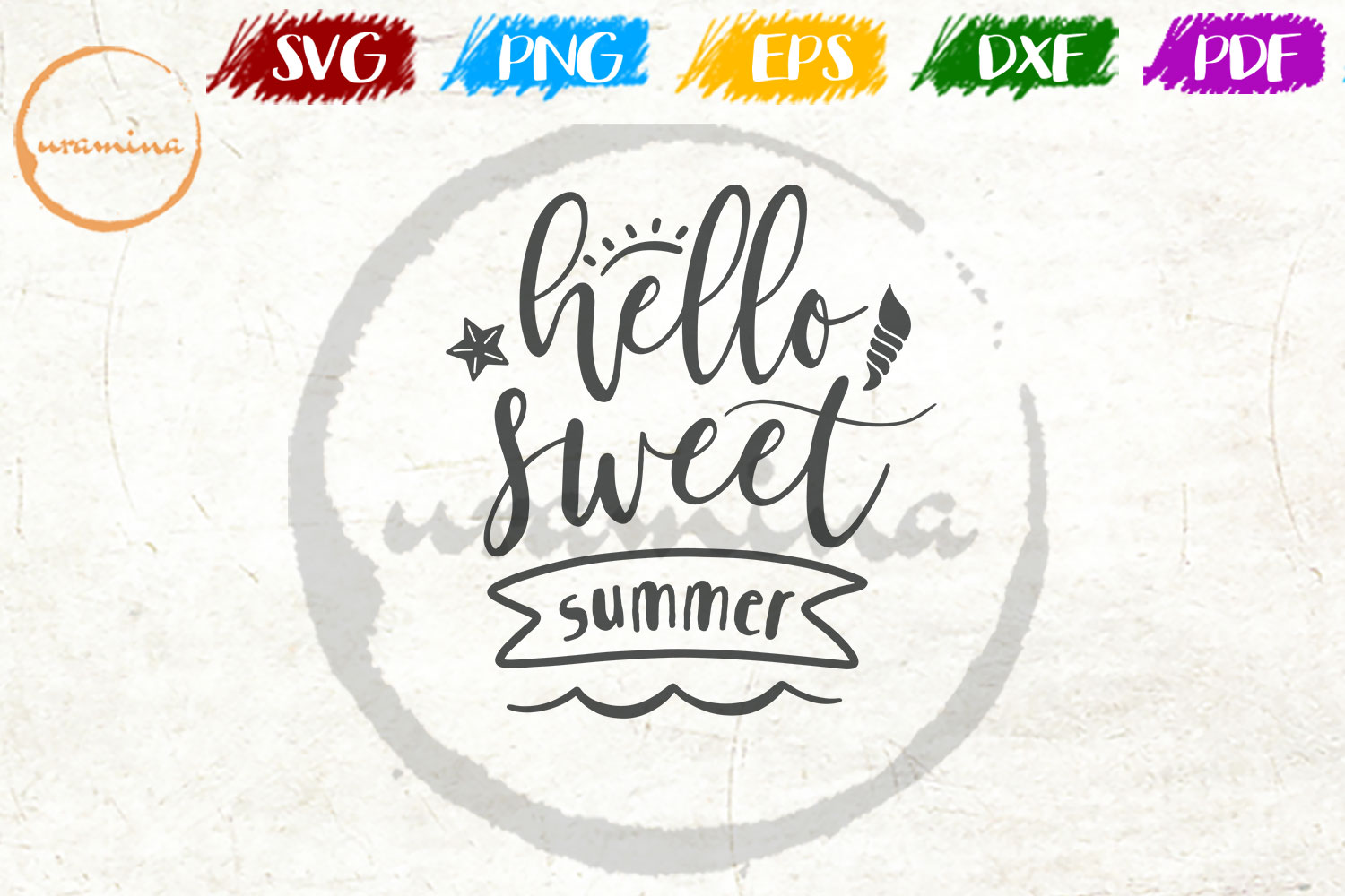 Download Free Hello Sweet Summer Graphic By Uramina Creative Fabrica for Cricut Explore, Silhouette and other cutting machines.