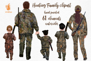 Print on Demand: Hunters Family Clipart Graphic Illustrations By LeCoqDesign