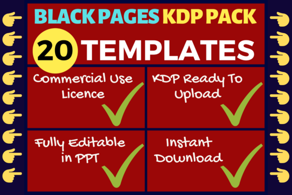 Print on Demand: KDP Bundle 20 Black Pages Templates Graphic KDP Interiors By Mastery Templates