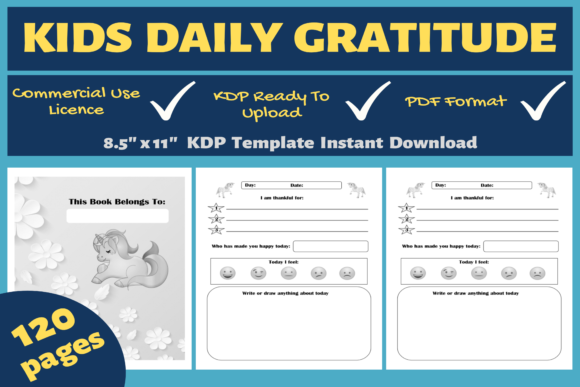 Print on Demand: Kids Daily Gratitude | KDP Interior Graphic KDP Interiors By Mastery Templates