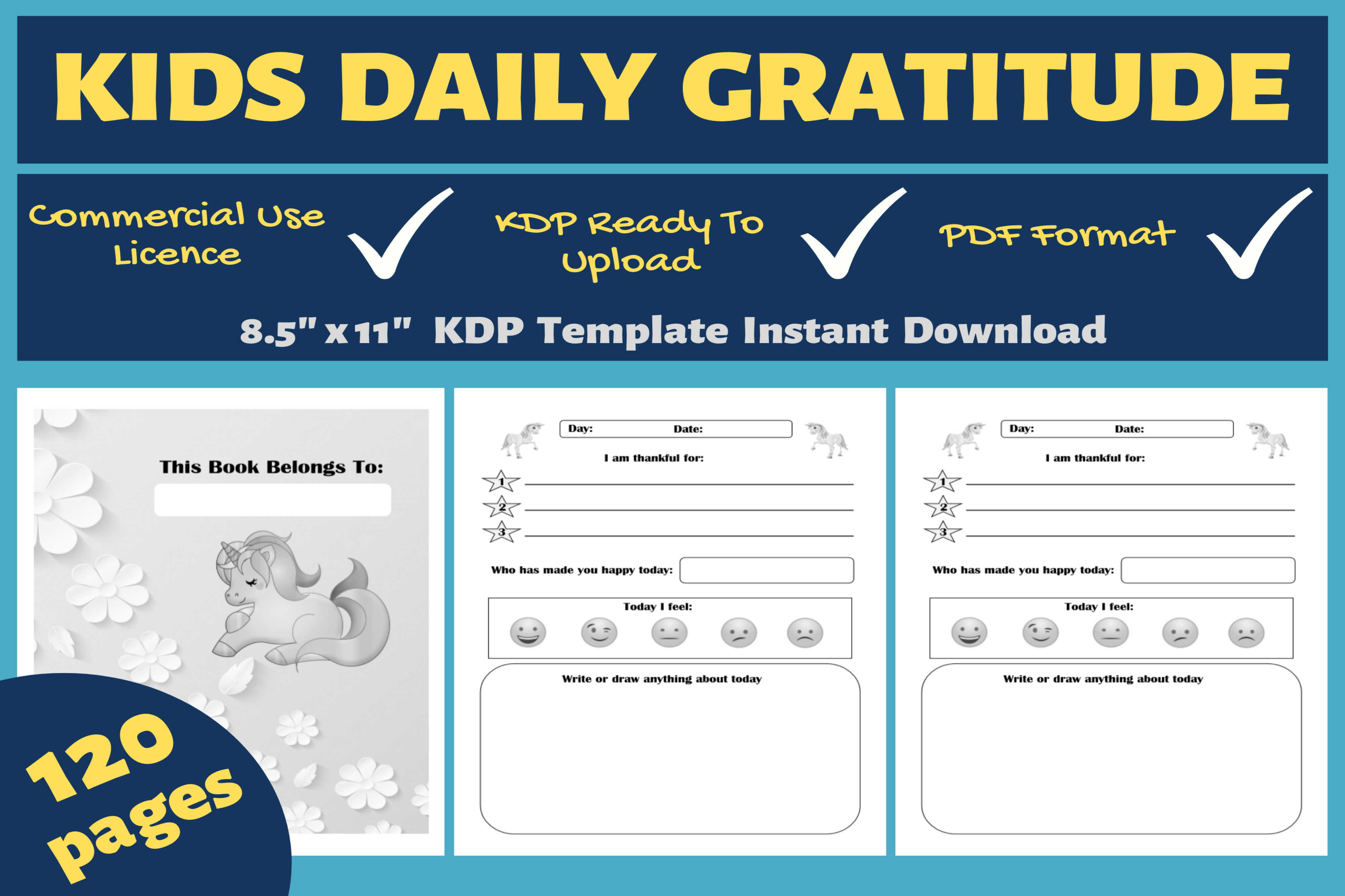 Download Free Kids Daily Gratitude Kdp Interior Graphic By Mastery Templates SVG Cut Files