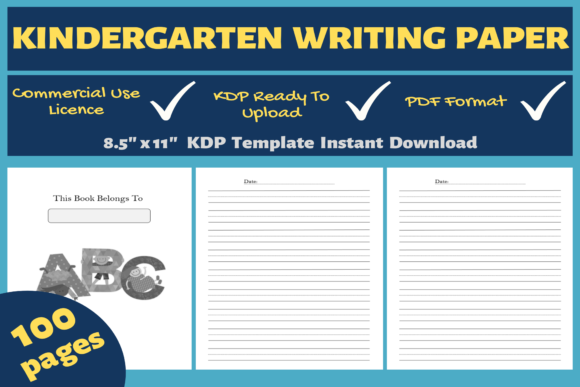 Print on Demand: Kindergarten Writing Paper KDP Interior Graphic KDP Interiors By Mastery Templates