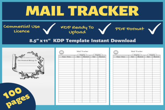 Print on Demand: Mail Tracker | KDP Interior Graphic KDP Interiors By Mastery Templates