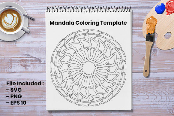 Print on Demand: Mandala Coloring Template Graphic Coloring Pages & Books Adults By Masyafi Creative Studio
