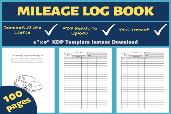 Print on Demand: Mileage Log Book | KDP Interior Graphic KDP Interiors By Mastery Templates