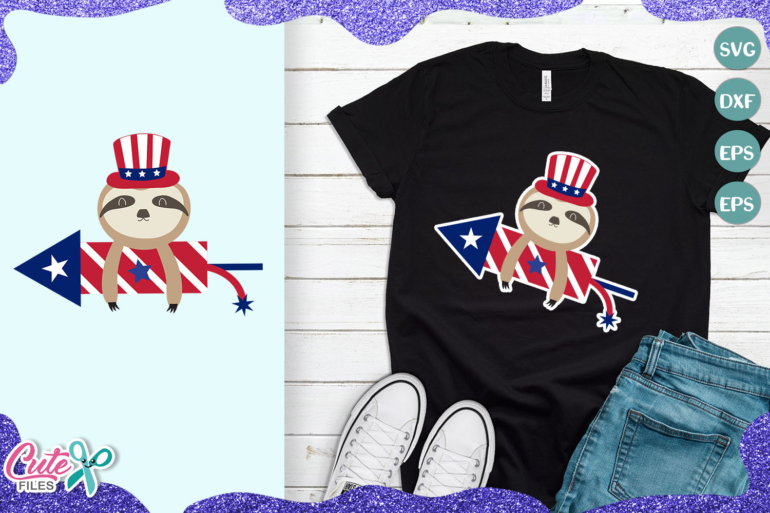 Download Free Patriotic Sloth Bear 4th Of July Graphic By Cute Files for Cricut Explore, Silhouette and other cutting machines.