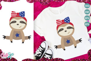 Patriotic Sloth Bear with Bow Graphic Illustrations By Cute files