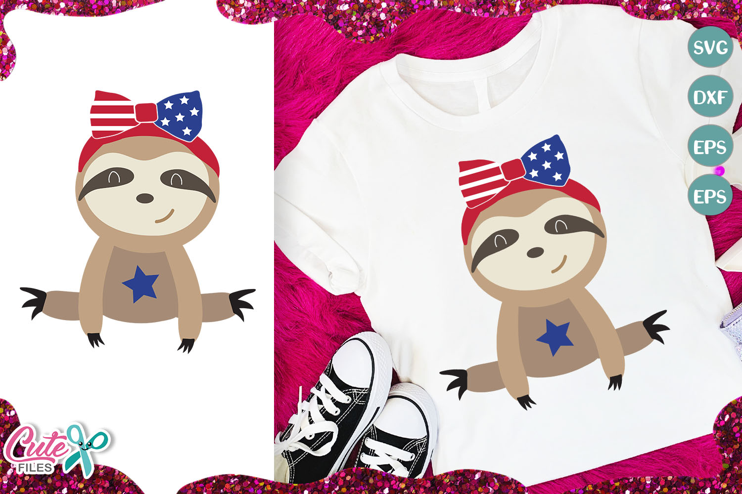 Patriotic Sloth Bear With Bow Graphic By Cute Files Creative