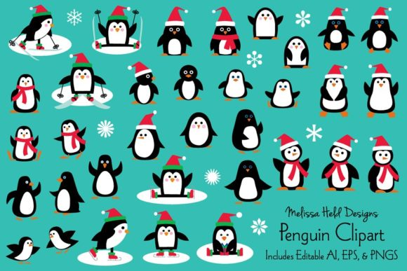 Download Free Penguin Clipart Graphic By Melissa Held Designs Creative Fabrica for Cricut Explore, Silhouette and other cutting machines.