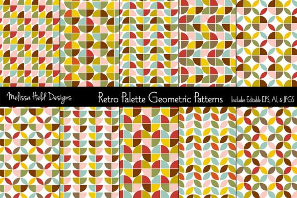 Download Free Retro Palette Geometric Patterns Graphic By Melissa Held Designs for Cricut Explore, Silhouette and other cutting machines.