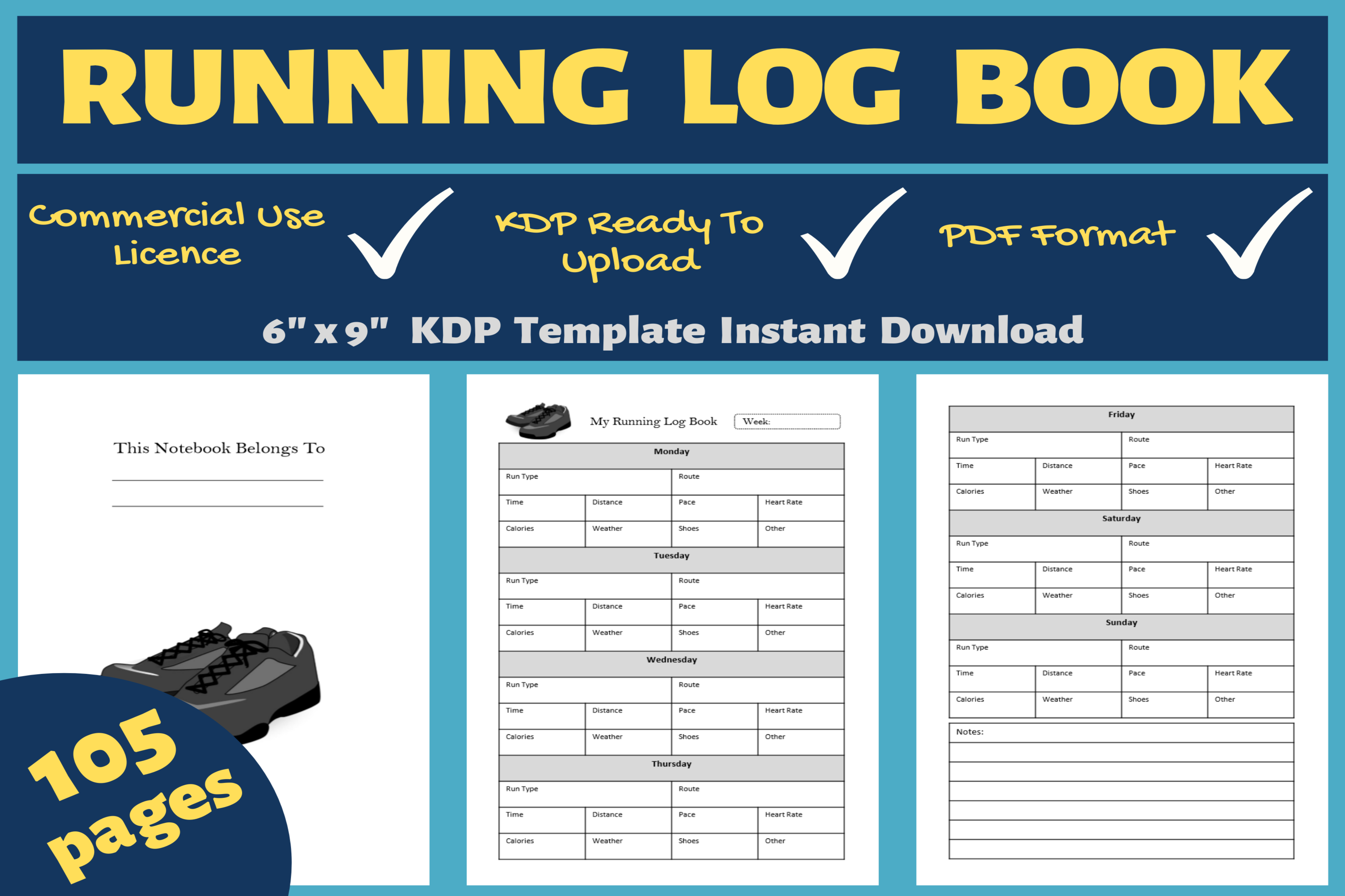 Download Free Running Log Book Kdp Interior Graphic By Mastery Templates for Cricut Explore, Silhouette and other cutting machines.