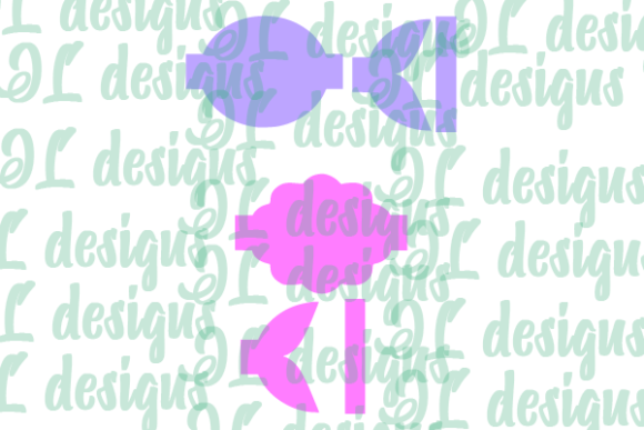 Print on Demand: Scalloped Mermaid Tail Bow Template Graphic 3D SVG By JL Designs