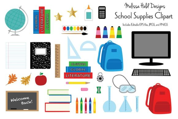 School Supplies Clipart Graphics Graphic Illustrations By Melissa Held Designs