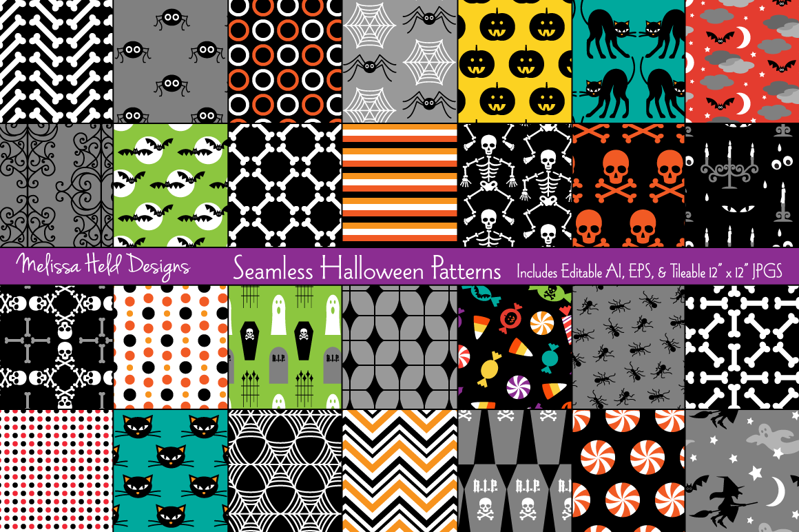 Download Free Seamless Halloween Patterns Graphic By Melissa Held Designs for Cricut Explore, Silhouette and other cutting machines.