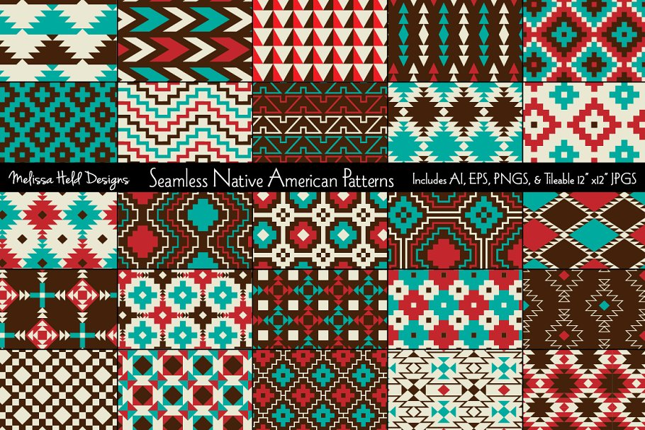 Download Free Seamless Native American Patterns Graphic By Melissa Held for Cricut Explore, Silhouette and other cutting machines.