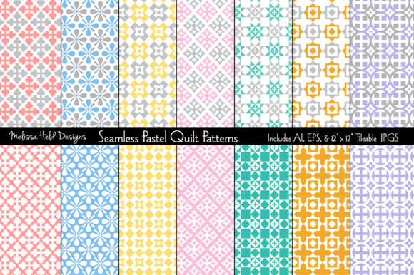 Seamless Pastel Quilt Patterns Graphic Patterns By Melissa Held Designs