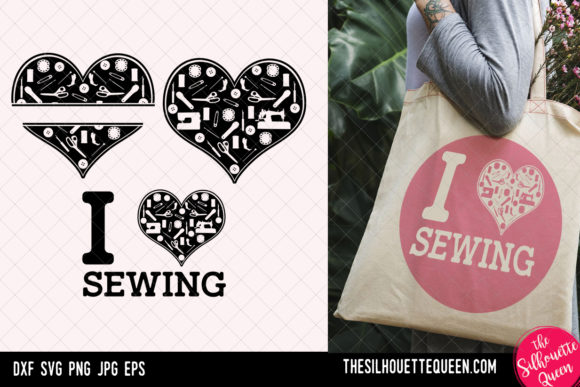 Sewing Heart, Valentines Day  Graphic Crafts By thesilhouettequeenshop
