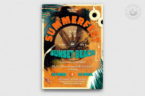 Download Free Summer Fest Flyer Template V1 Graphic By Thatsdesignstore for Cricut Explore, Silhouette and other cutting machines.