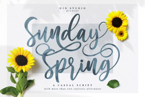 Print on Demand: Sunday Spring Script & Handwritten Font By Din Studio