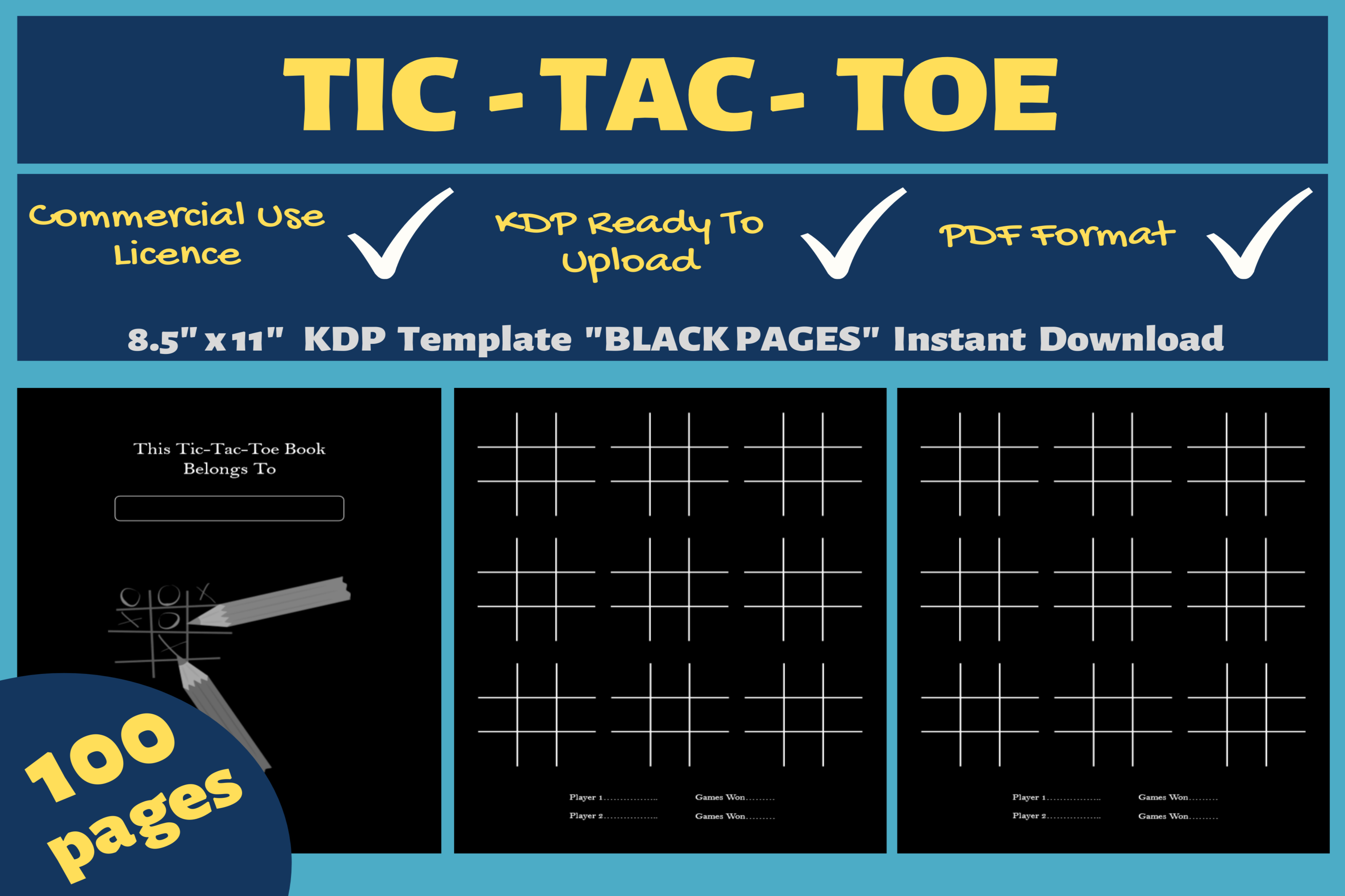 Tic Tac Toe  KDP Template Grafik von Mastery Templates · Creative Intended For Tic Tac Toe Template Word