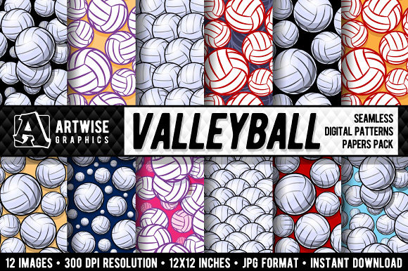 Download Free Valleyball Digital Paper Graphics Graphic By Artwise Graphics for Cricut Explore, Silhouette and other cutting machines.