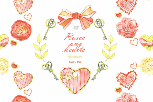 Watercolor Roses and Hearts Clipart Graphic Illustrations By NataliMyaStore