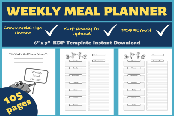 Print on Demand: Weekly Meal Planner | KDP Interior Graphic KDP Interiors By Mastery Templates