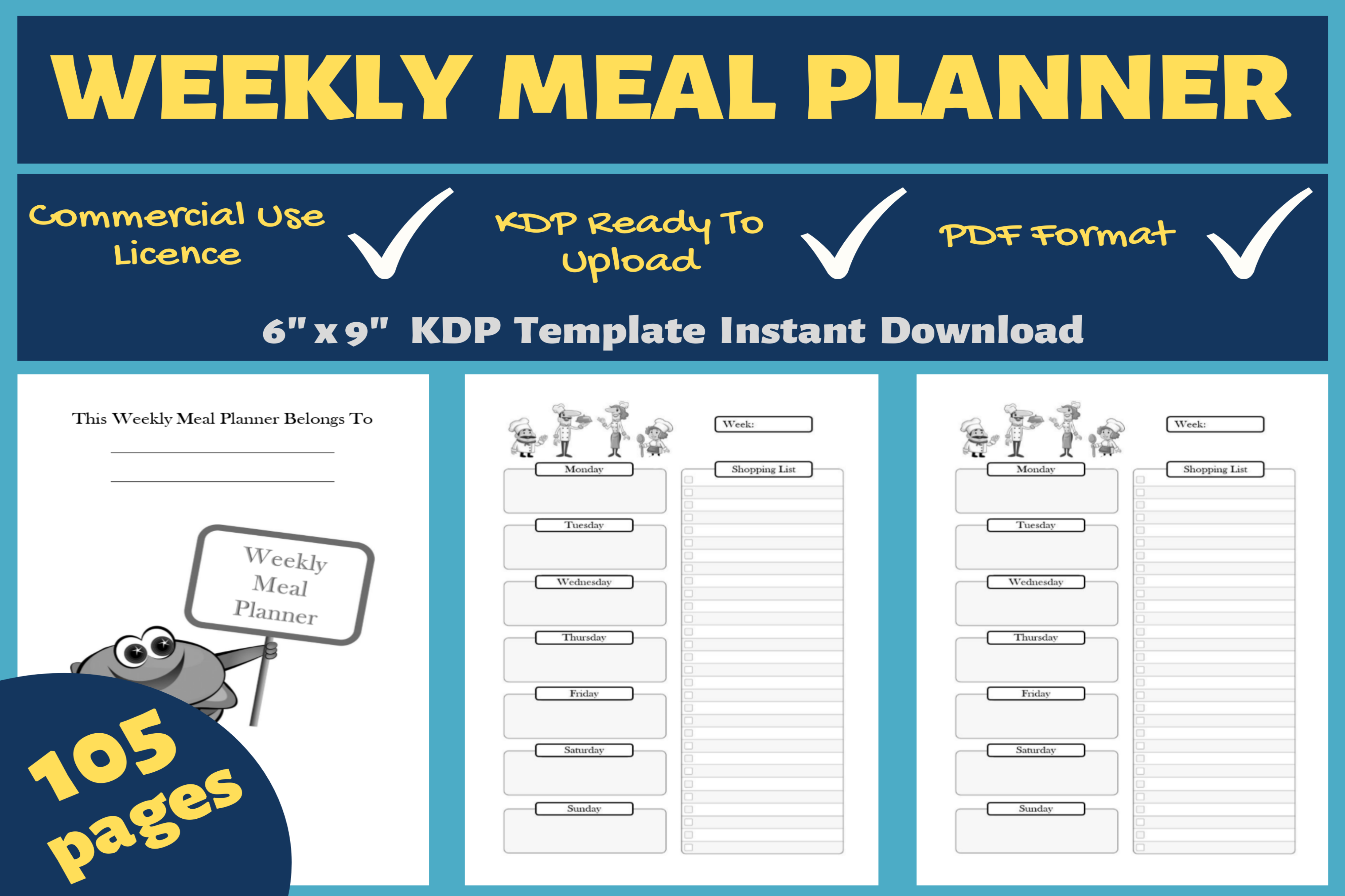 Download Free Weekly Meal Planner Kdp Interior Graphic By Mastery Templates for Cricut Explore, Silhouette and other cutting machines.