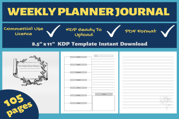 Print on Demand: Weekly Planner Journal | KDP Interior Graphic KDP Interiors By Mastery Templates