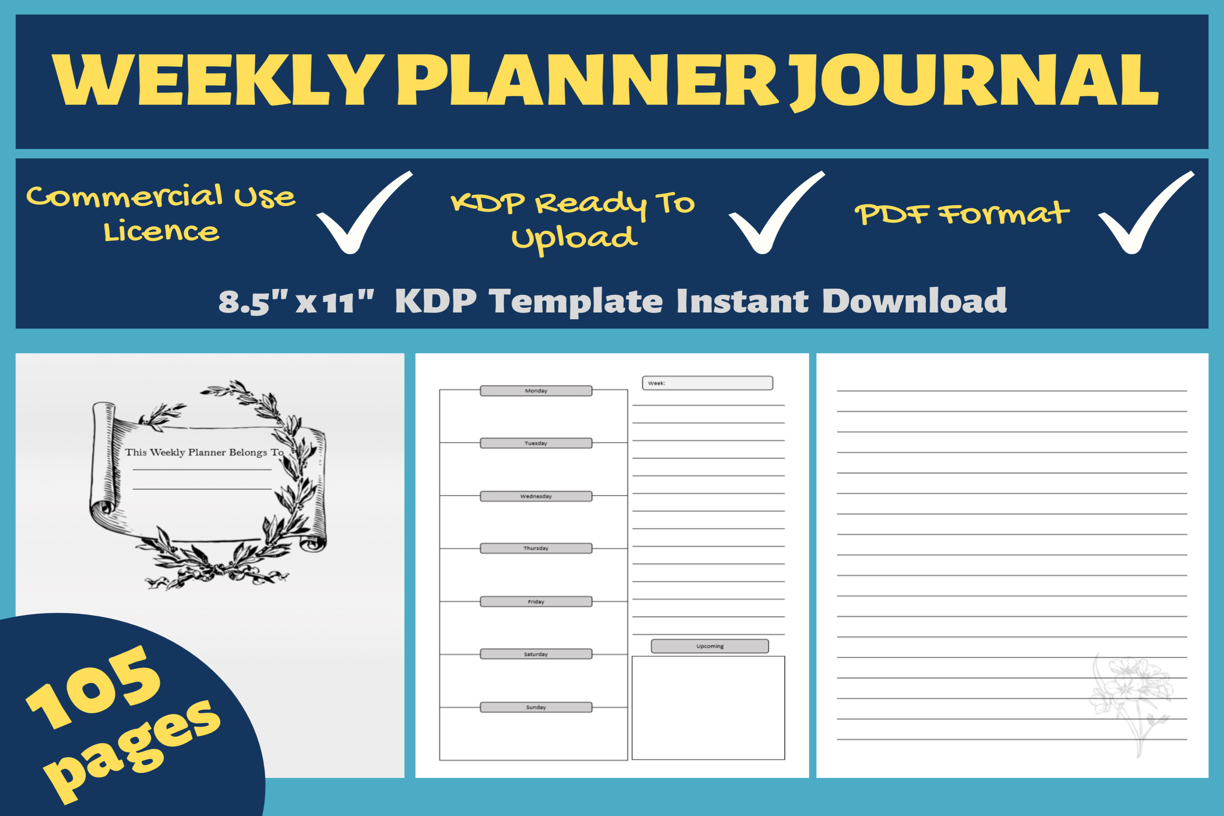 Download Free Weekly Planner Journal Kdp Interior Graphic By Mastery for Cricut Explore, Silhouette and other cutting machines.