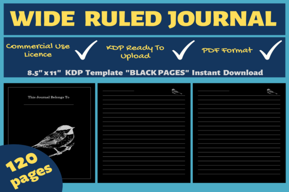 Print on Demand: Wide Ruled Journal | KDP Interior Graphic KDP Interiors By Mastery Templates
