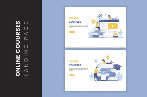 Online Courses Illustration Landing Page Graphic Illustrations By HengkiL