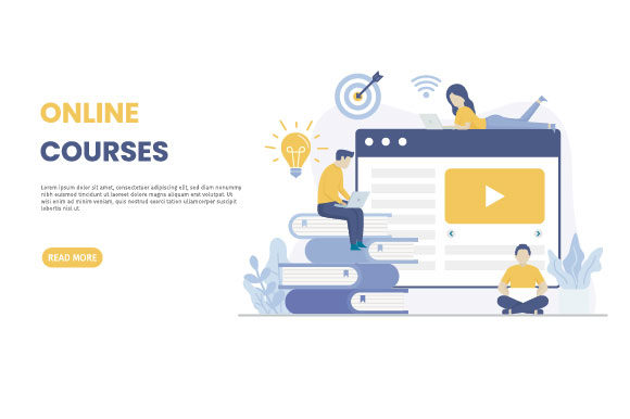 Download Free Online Courses Illustration Landing Page Graphic By H12 Creative Fabrica for Cricut Explore, Silhouette and other cutting machines.