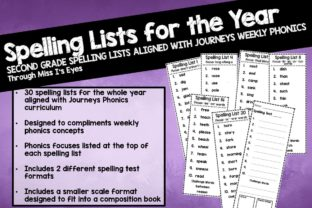 2nd Grade Spelling Lists for Whole Year Graphic 2nd grade By hi miss i
