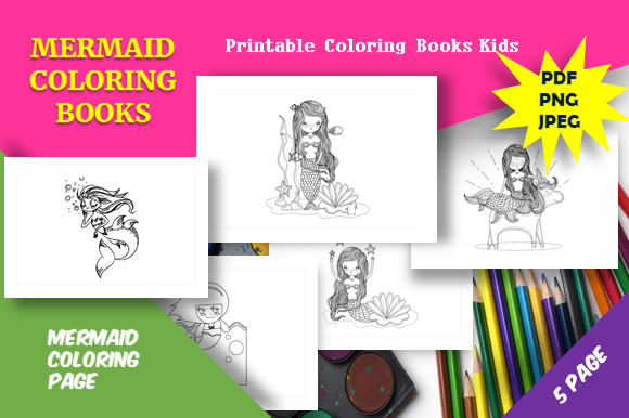 Print on Demand: 5 Cute Mermaid Coloring Book Kids Graphic Coloring Pages & Books Kids By icutletterstudio