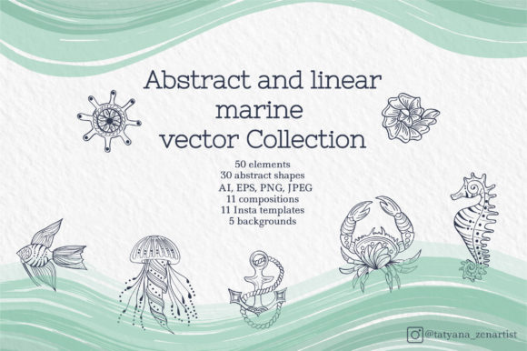 Abstract and Linear Marine Vector Set Graphic Objects By Tatyana_Zenartist