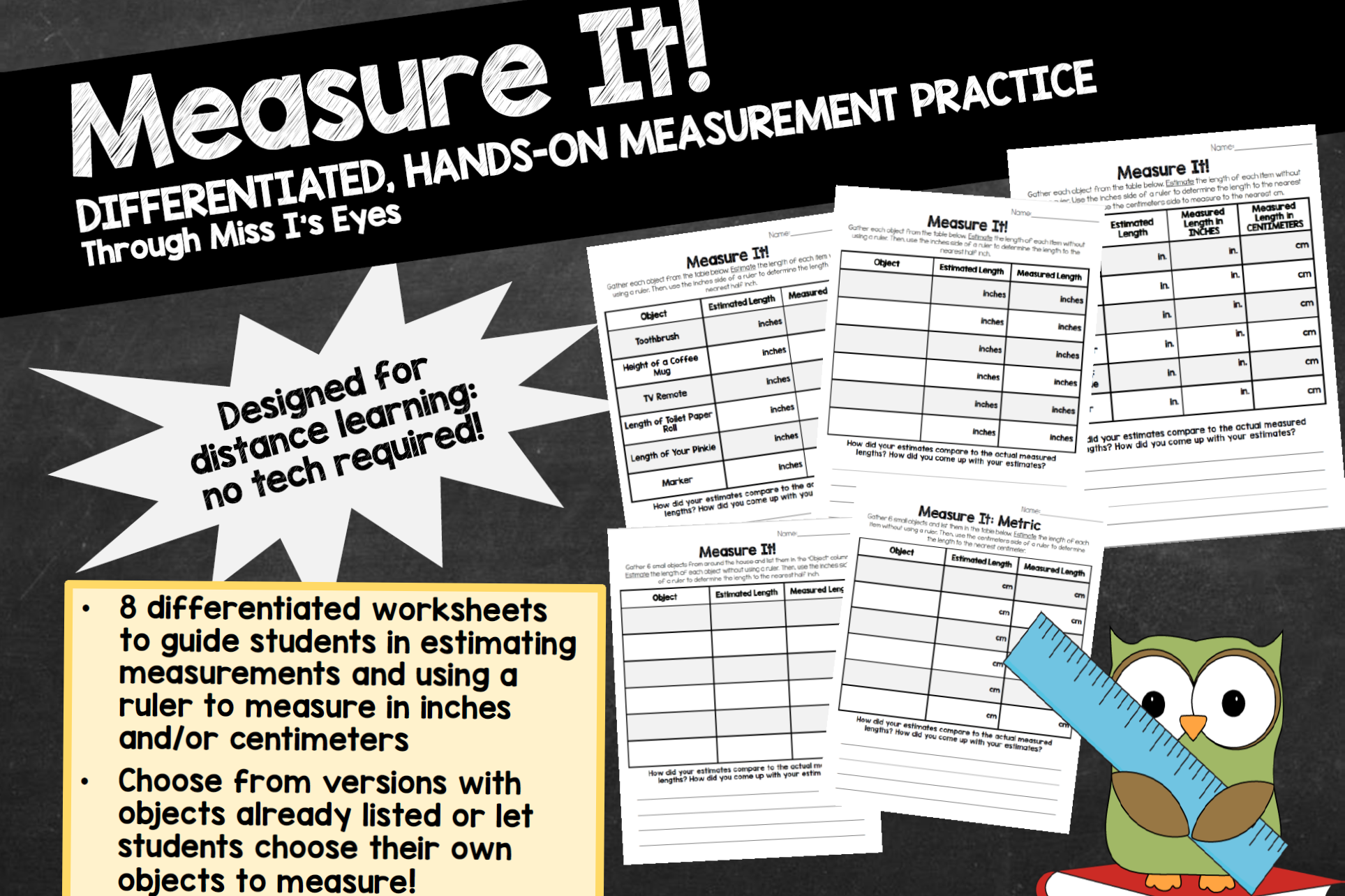 Download Free At Home Hands On Measurement Practice Graphic By Hi Miss I for Cricut Explore, Silhouette and other cutting machines.