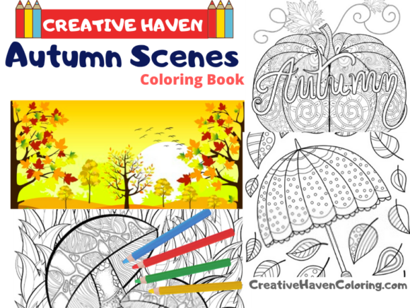 Autumn Scenes Coloring Book for Adults Graphic Coloring Pages & Books Adults By coloringpages