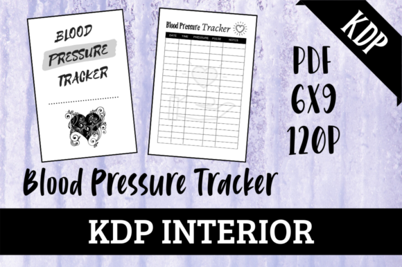 Print on Demand: Blood Pressure Tracker | KDP Interior Graphic KDP Interiors By Hungry Puppy Studio