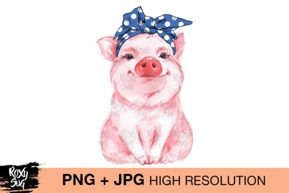 Print on Demand: Blue Bandana Pig  Graphic Crafts By roxysvg26