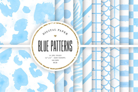 Print on Demand: Blue Watercolor Patterns Digital Paper Graphic Backgrounds By Sabina Leja